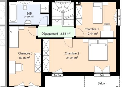 Etage-villa-MC135-mitoyenne-droite