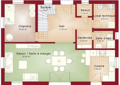 Rez-de-chaussée-Evolution 148-toit plat